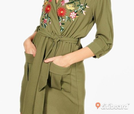 Embroidered front tie waist Shirt Dress_Khaki color_Size 38