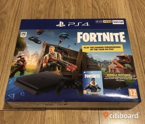 Helt ny Playstation 4 med spelet Fortnite.