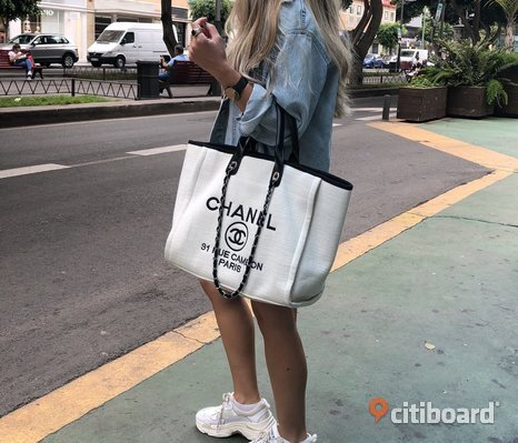 Chanel Deauville Canvas Väska Shopping Tote Bag Chain Kedja Grå