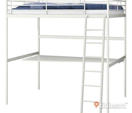 Ikea loft bed + 2 mattresses + bord