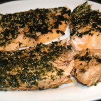 furikake salmon with yoshida sauce