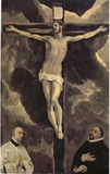 Christ on the Cross Adored by Two Donors,El Greco