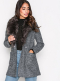 New Look Faux Fur Collar Coat Kappor Black