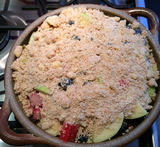 black currant and red currant crumble