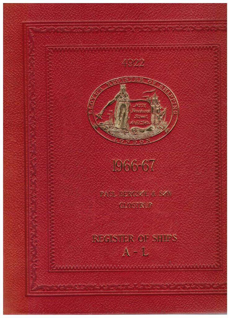 Lloyd's Register of Shipping. Register of Ships 1966-67. Register volume I A-L.
