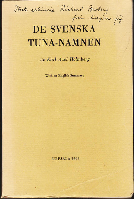 De Svenska Tuna-Namnen With an English Summary